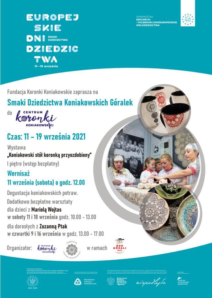 Plakat promujący Europekjskie Dni Dziedzictwa w Centrum Koronki Koniakowskiej